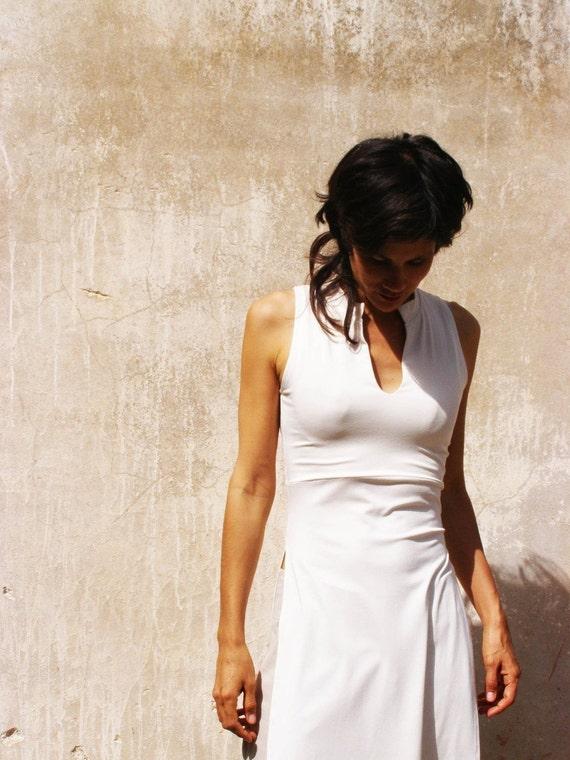 Summer womens top TUNIC-Womens sleeveless tunic-white kurta--Summer womens tunic-tunic with slits-tank top in white