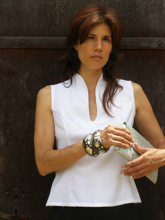 White elegant top blouse-Sleeveless top-Summer top-Tank top-womens blouse-Outerwear-Womens clothes-WHITE TAILORED TOP-tops-fashion
