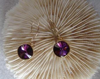 Amethyst 12mm Swarovski Rivoli Earrings