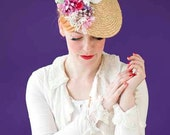 fabulous bridal straw hat with vintage flowers and a flying dove
