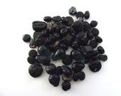 Black Czech Glass Beads Black Beads Czech Beads 60g for Beading Crafting Crafts Jewelry Making Coal Petroleum Night Raven Onyx Ebony
