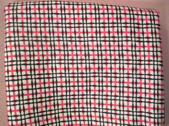 "Reserved Vintage Fabric 1 yard x 43"" wide Navy and red Plaid SALE"