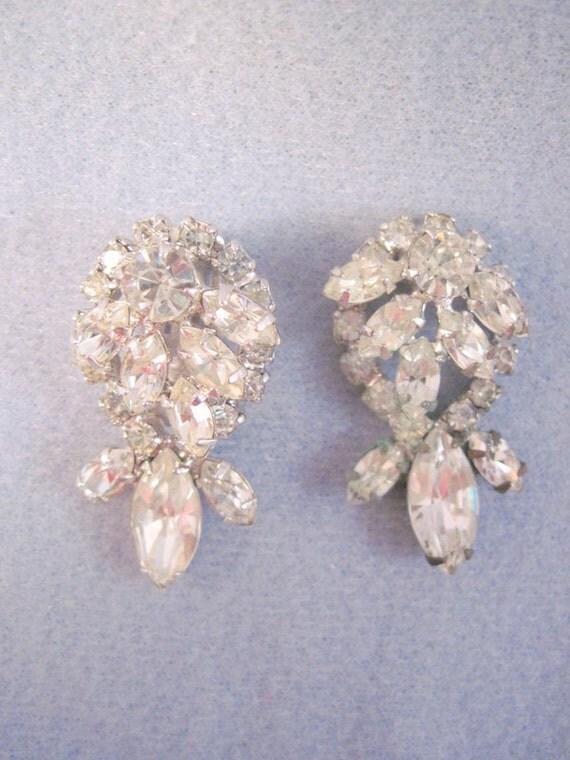 Vintage Rhinestone Earrings to be repaired or for Destash