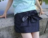Ribbon Denim Skirt