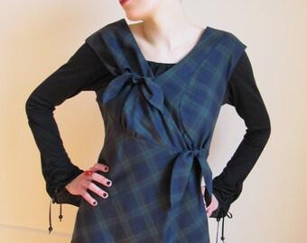 SALE ! - Asymmetrical Tartan Ribbon Tunic Dress