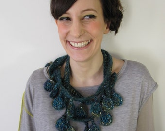 """SALE ! - """"Abyss"""" Crocheted Necklace Knitted jewelry One of a kind"""