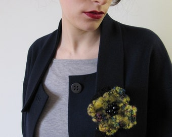 """SALE ! - """"Spicy Flower"""" Crocheted Brooch One of a kind"""