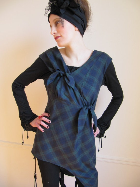 SALE ! - Asymmetrical Tartan Ribbon Tunic Dress