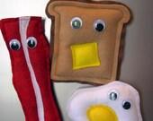 Custom order for Kara- Mr. Bacon, Mr. Fried Egg and Mr. Donut Magnets