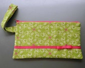 Lime and Hot Pink Vine Wristlet
