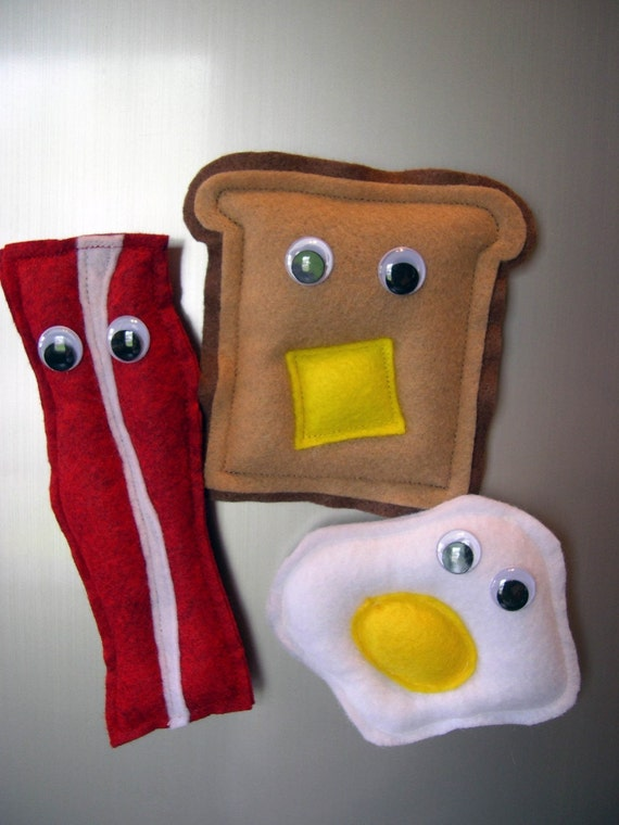 Mr. Bacon, Mr. Fried Egg and Mr. Toast Magnets