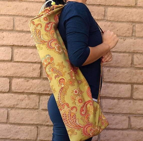 Yoga Mat Bag Olive and Rust SPRING GARDEN