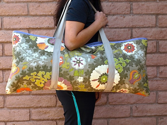 Yoga / Pilates Tote or Gym Bag  ISTANBUL orange, lime green and purple floral