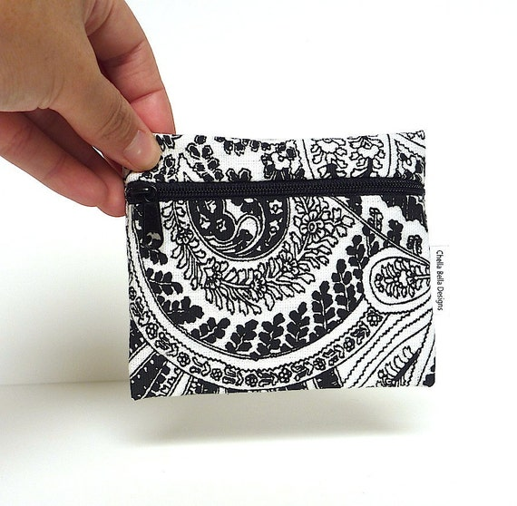 Coin Purse Black and white - Evening Paisley