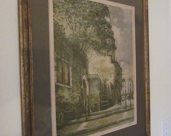 Vintage French Corniche D'Or Scene Litho Print with Original Frame