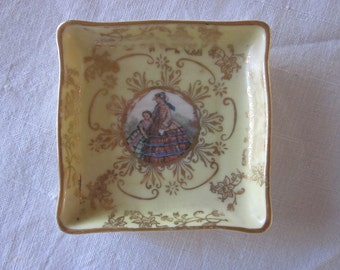 Antique Hand Painted Porcelain Dresser Tray for Jewelry