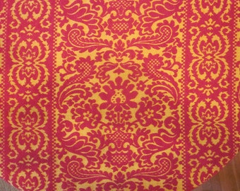 Vintage Striped Damask Heavy Weave Coverlet or Fabric