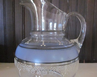 Antique Blown Glass Water Pitcher with Blue Band and Beading