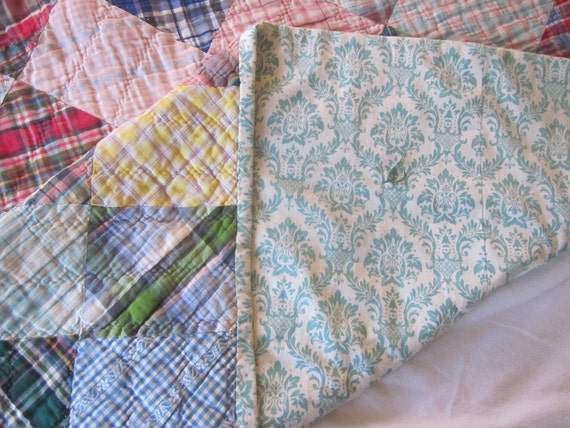 Vintage Plaids and Damask Backed Quilt