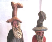 Vintage Quirky Pair of Carved Wood Hillbilly Figures