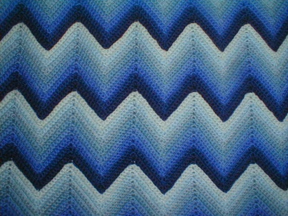 Crochet Zig Zag Afghan : Vintage Crocheted Wool Blue Zig Zag Afghan in Perfect Condition