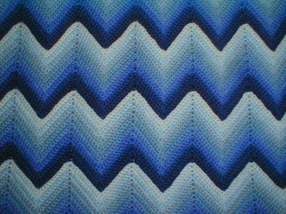 Crochet Pattern For Zig Zag Rug : Vintage Crocheted Wool Blue Zig Zag Afghan in Perfect