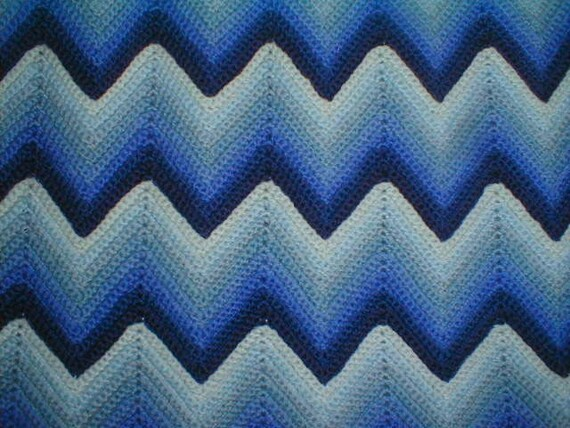 Crocheting A Zig Zag Afghan : Vintage Crocheted Wool Blue Zig Zag Afghan in Perfect Condition