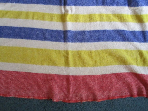 Vintage Cheerful Cozy Wool Camp Blanket with Colorful Stripes