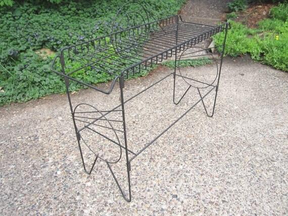 Vintage Mid Century Modern Geometric Black Metal Plant Stand