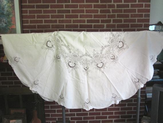 Vintage Beautiful Ecru Linen Madeira 66 Inch Round Tablecloth