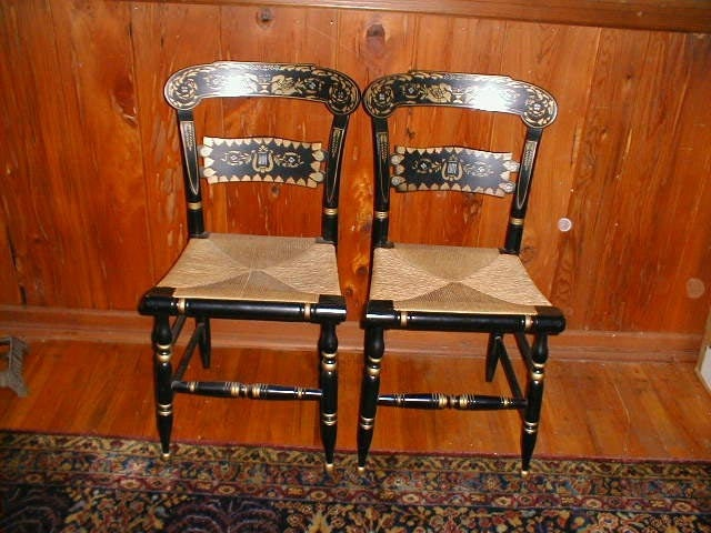 Beautiful Pair Of Black Stenciled Hitchcock Chairs By Ethan