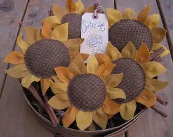 Sunflower Bowl Fillers/Tucks / Hand Stitched Flowers