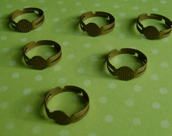 50 pcs Antique Bronze adjustable ring setting - ring blanks - lead free, nickel free, cadmium free