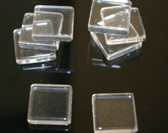 100 Earring Size Square ultra clear glass tiles 15mm