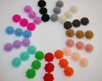 60 pcs resin Dahlia mum flower cabochon settings for ring, earring, pendent etc.