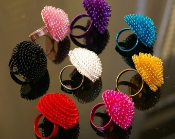 50% OFF and 16 pcs - big bold colorful spray paint wire mesh adjustable ring setting