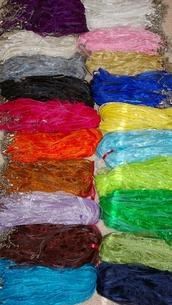"100 - Organza ribbon waxed cotton cord necklace 18"" plus 2"" extension - 20 colors"