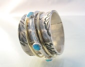 The Six Senses - floral silver band with gold spinners and Lab opals ring. Wedding band.