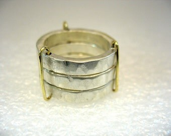 One,Two,Three - unisex stackable hammered silver rings with yellow gold