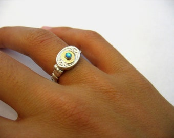 Daily Elegant Ring - Victorian silver and gold oval ring with Lab Opal.Cocktail ring.Original design mixed metal, delicate  statement ring.