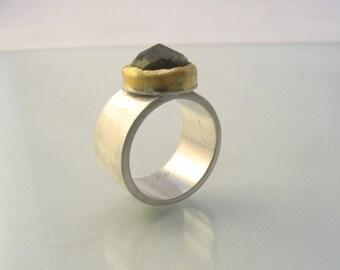 Labradorite Ring - labradorite set in gold on silver ring