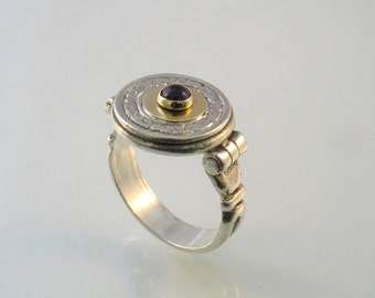 Round Victorian Engraved Silver and Gold Ring with Amethyst