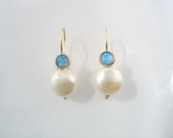Elegant  Earrings - dangling or stud earrings with pearl and garnet or Lab Opal set in gold