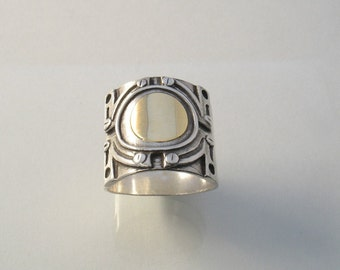 Art Deco - unisex silver and gold decorated wide band ring