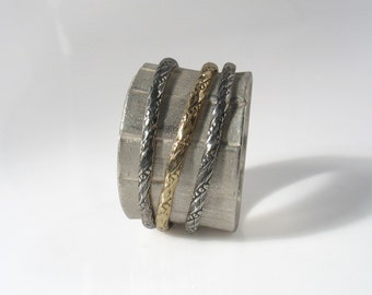 Sweet Meditation Ring - braided gold and oxidized silver spinners ring. Spinning two tone ring.