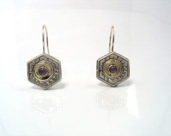 Antique Victorian Style Earrings - silver and gold engraved earrings with amethyst