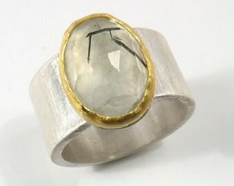 Oval rose cut green Prehenite,set in 22k gold on silver ring- Enchant ring