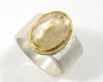 Oval rose cut Rutilated quartz, set in 22k gold on silver ring- Gold mine ring