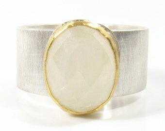 Oval rose cut Moon stone,set in 22k gold on silver ring- Moon sick ring