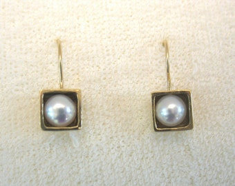 The Cube - gold and pearl earrings